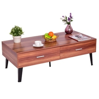 Costway Coffee Table Wood Storage Drawers w/ Steel Legs Living Room Furniture Modern