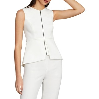 BCBG Max Azria Abrielle Women's Peplum Sleeveless Zip Top - White