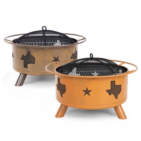 NUU GARDEN 30-inch Round Star Wood Burning Firepit