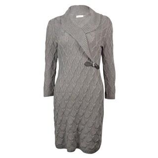 Calvin Klein Women's Shawl Faux Buckle Knit Sweater Dress (XL, Tin) - xL