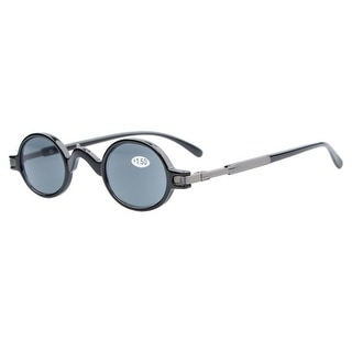 Eyekepper Sun Readers Spring Temple Vintage Mini Small Oval Round Reading Sunglasses Grey Lens +4.0 - +4.00