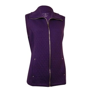Karen Scott Women's Diamond Quilted Zip Vest