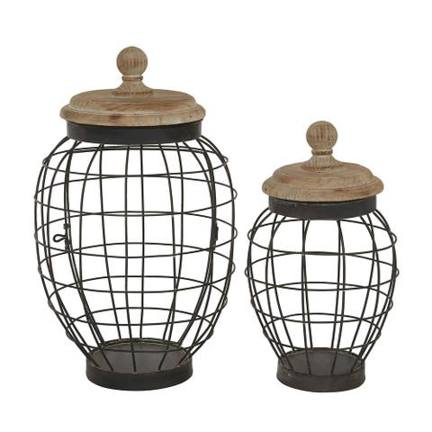 "Round Black Open Metal Frame Jar With Natural Wood Lid Set Of 2 12"" 15"" - 9 x 9 x 15"