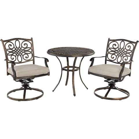 Agio Renditions 3-Piece Set with 2 Swivel Rockers and 32-in. Cast-Top Table, Featuring Sunbrella® Fabric in Silver