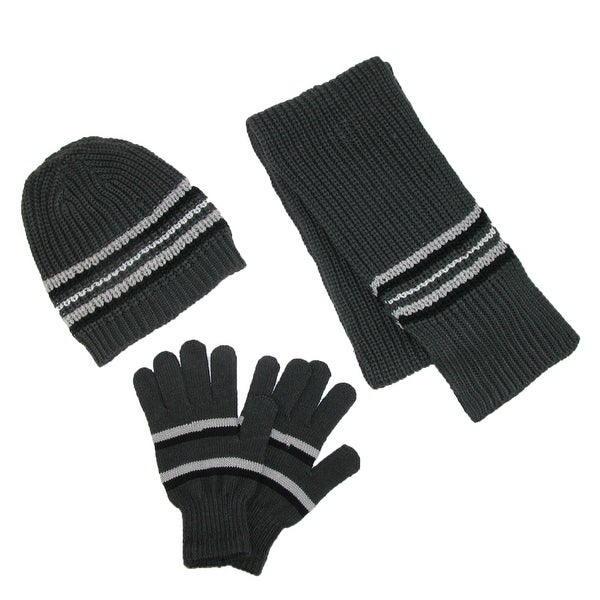 CTM® Men's Knit Hat Gloves and Scarf Winter Set - One size