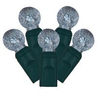 "Set of 100 Cool White LED Faceted G12 Berry Christmas Lights 4"" Spacing - Green Wire"