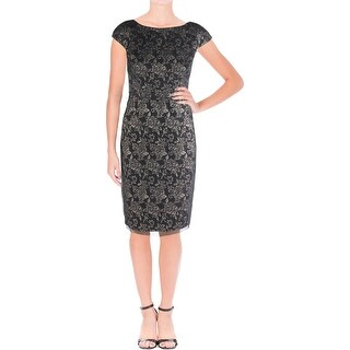 Vera Wang Womens Cocktail Dress Lace Floral Print