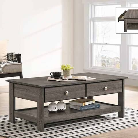Furniture of America Aranda Rustic Grey 2-drawer Coffee Table