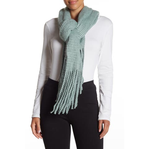 David & Young Green Women's One Size Fringe Trim Stripe Oblong Scarf 318