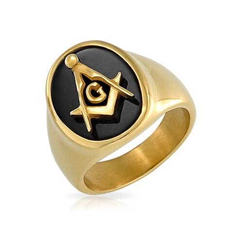 Gold Plated Steel Imitation Onyx Resin Mens Masonic Ring