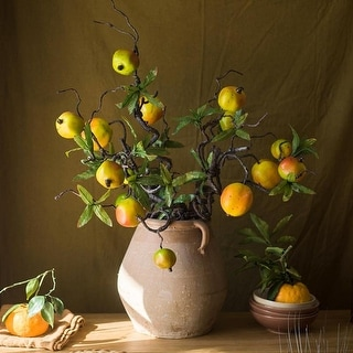 "RusticReach Artificial Fruit Yellow Pomegranate Winding Stem 32"" Tall"