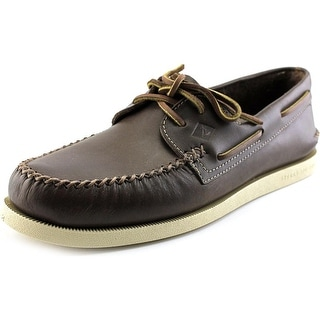 Sperry Top Sider A/O 2-Eye Wedge Leather Men Moc Toe Leather Brown Boat Shoe