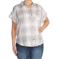 WILLIAM RAST Womens Gray Plaid Button Up Top  Size: L