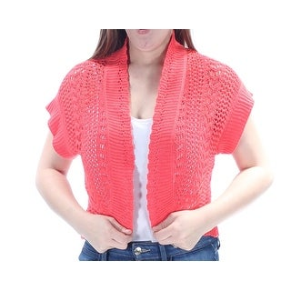 Womens Coral Short Sleeve Open Cardigan Top Size 8
