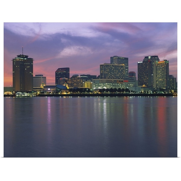 """""""Buildings lit up at sunset, New Orleans, Louisiana"""" Poster Print"""