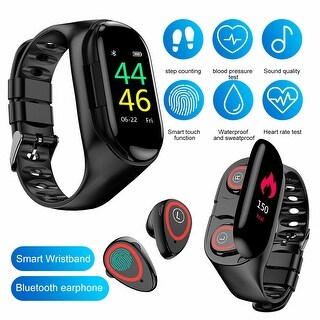 Link to M1 Hybrid SmartWatch & EarBuds w/ BT 5.0 Sync , Fitness Suite [ Heart Rate, Blood Pressure, Pedometer] + Magnetic Charging Case Similar Items in Cell Phone Accessories