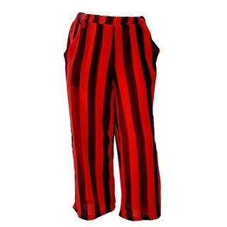 Girls Black Red Stripe Pattern Loose Fitting Summer Style Pants