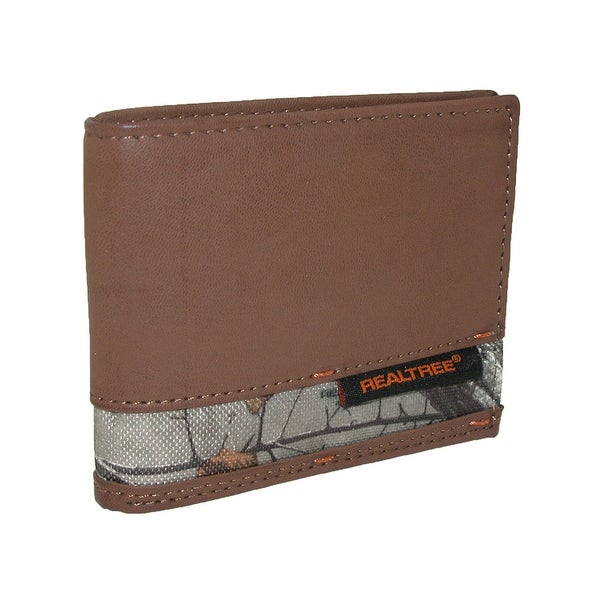 Realtree Men's Leather Passcase Bifold Wallet with Camouflage Print Insert - One size