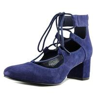 Nine West Fonsecao Women Round Toe Suede Blue Heels - 6.5