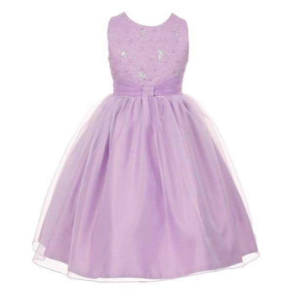 b75e9b730dc51 The Rain Kids Little Girls Lilac Organza Sparkly Elegant Occasion Dress 2-6