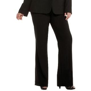 Calvin Klein Womens Plus Madison Dress Pants Flat Front Wide Leg