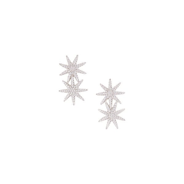 925 Sterling Silver Double Star Stud with Cubic Zirconia