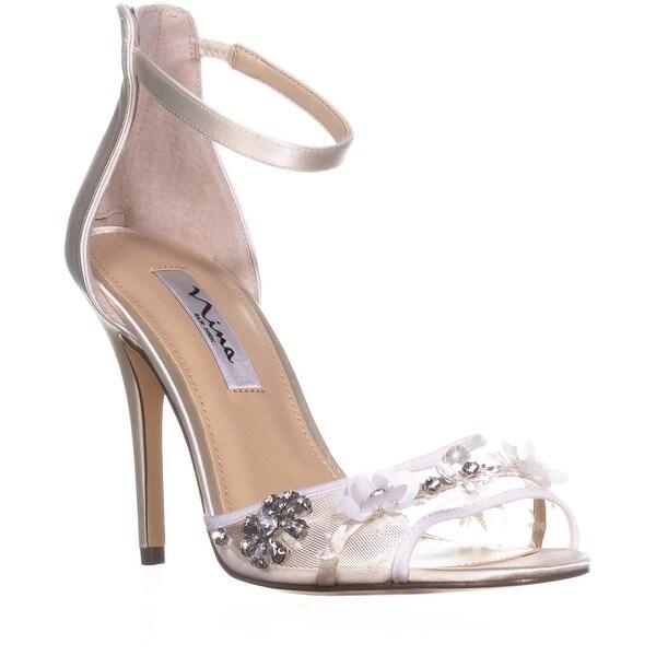 Nina Clarity Crystal Flower Zip Up Sandals, Ivory Crystal