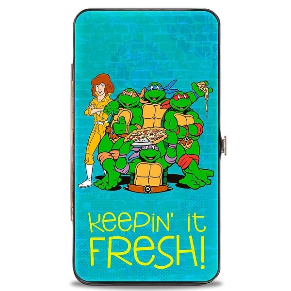 Classic Teenage Mutant Ninja Turtles April & Group Keepin' It Fresh + Logo Hinge Wallet - One Size Fits most