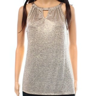 INC NEW Gold Women's Size XL Shimmer Halter Keyhole Ruched Tank Blouse
