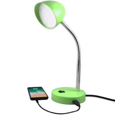 MaxLite LED Desk Lamp with USB Charging Port, Green Desk Lamp, Adjustable Neck, On/Off Switch, Warm Gentle Light
