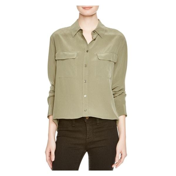 e1f6d9064952a3 Shop Equipment Femme Womens Slim Signature Button-Down Top Silk Long ...