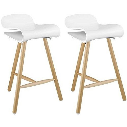 "2xhome Set of Two (2) White 26.5"" Modern Style Tri-Leg Backless Barstool With Natural Wood Legs"