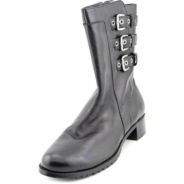 Adrienne Vittadini Trojan Round Toe Leather Mid Calf Boot