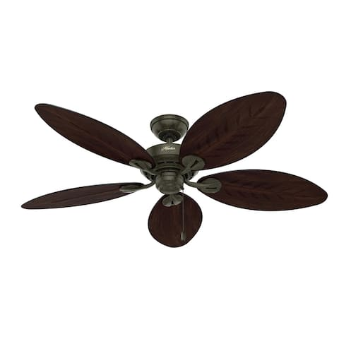 "Hunter 54"" Bayview Outdoor Ceiling Fan with Pull Chain"