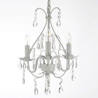 Link to Wrought Iron and Crystal White Chandelier Similar Items in Chandeliers