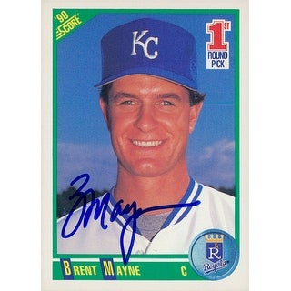 Signed Mayne Brent Kansas City Royals 1990 Score Baseball Card autographed