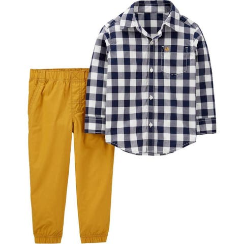 Carters Boys 2T-4T Plaid Woven Pant Set