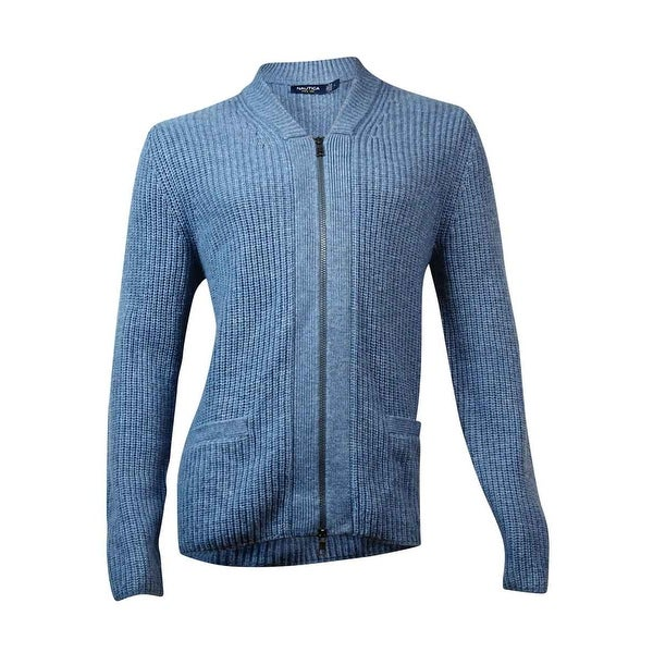 Nautica Men's Full-Zip Pocketed Knit Cardigan (M, Heather Blue) - Heather Blue - M
