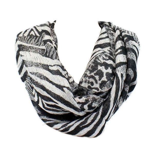 84bd0a70e Shop Apt. 9 Metallic Rayon Animal Print Black Silver Infinity Scarf Wrap -  Large - Free Shipping On Orders Over $45 - Overstock - 15269039