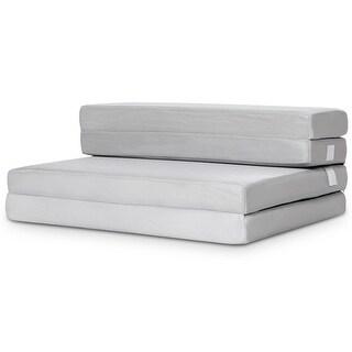 Gymax 4'' Twin XL Size Foam Folding Mattress Sofa Bed Guests Floor Mat Carrying Handles