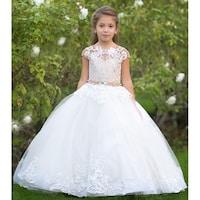 ec15ff2960515 Little Girls Ivory Cappuccino Pearl Belt Tulle Dakota Ball Flower Girl Dress