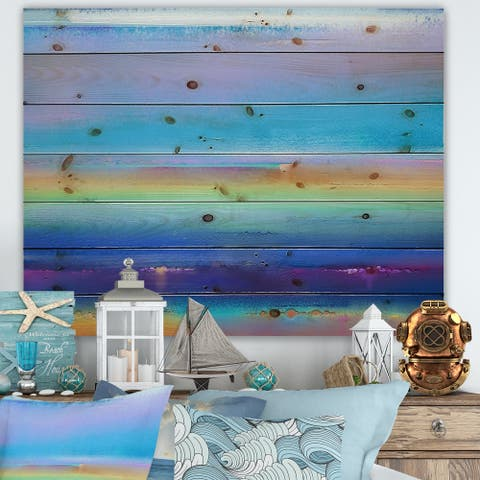 Designart 'Landscape During Sunset Summer Impression' Modern Print on Natural Pine Wood