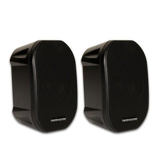 Theater Solutions TS38B Mountable Indoor / Outdoor Speakers Black Bookshelf Pair