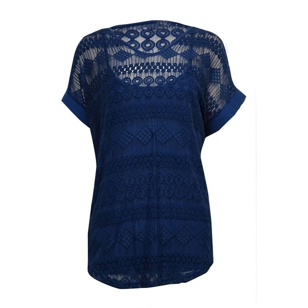 NY Collection Women's 2PC Embroidered Lace Mesh Top