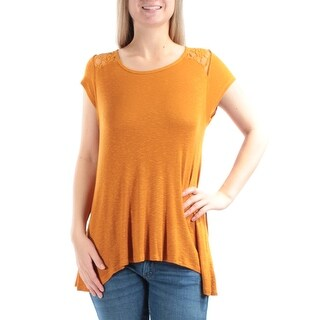 Womens Gold Cap Sleeve Jewel Neck Casual Top Size M