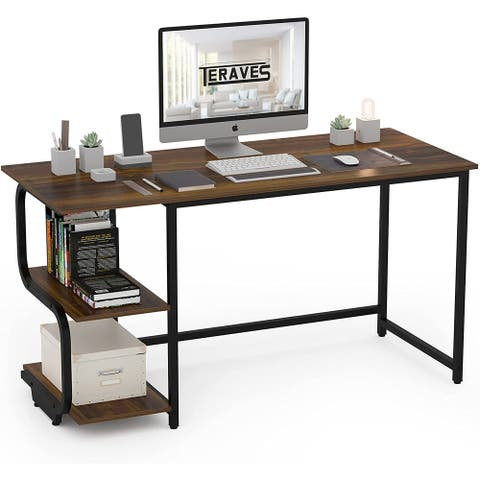 Teraves Reversible Computer Desk Gaming Desk Small Office Desk with Shelves for Home Office