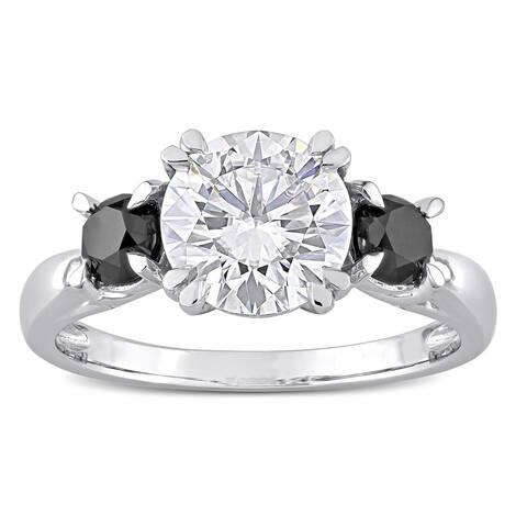 Miadora 10k White Gold Created Moissanite & 5/8ct TDW Black Diamond 3-Stone Engagement Ring
