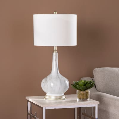 Gracewood Hollow Napoli Transitional White Fabric Lamp