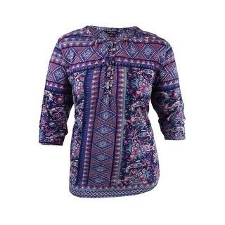 Lucky Brand Women's Plus Size Mixed-Print Blouse (2X, Navy Multi) - Navy Multi - 2x