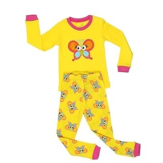 Elowel Little Girls Yellow Butterfly Long Sleeve Cotton 2 Pc Pajama Set